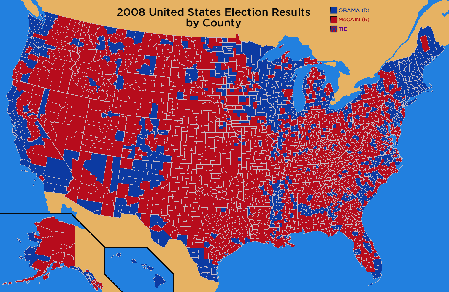 2008 Red-Blue election by County